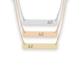Delta Zeta Letters Bar Necklace