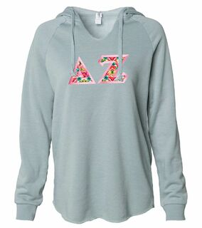 Delta Zeta Lightweight California Wavewash Hooded Pullover Sweatshirt