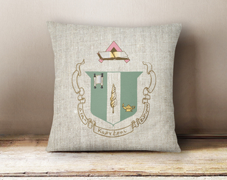Delta Zeta Linen Crest - Shield Pillow