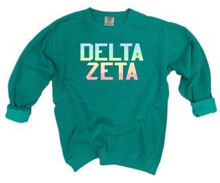 Delta Zeta Pastel Rainbow Crew - Comfort Colors