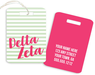 Delta Zeta Personalized Striped Luggage Tag