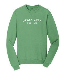 Delta Zeta Pigment Dyed Crewneck Sweatshirt