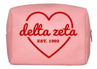 Delta Zeta Pink with Red Heart Makeup Bag