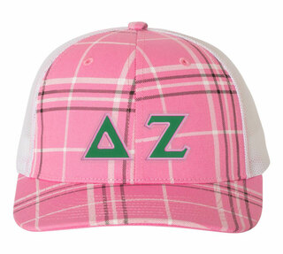 Delta Zeta Plaid Snapback Trucker Hat - CLOSEOUT