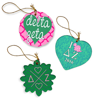 Delta Zeta Porcelain Ornament Trio Set