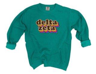 Delta Zeta Retro Maya Comfort Colors Crewneck Sweatshirt