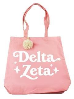 Delta Zeta Retro Pom Pom Tote Bag