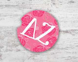Delta Zeta Roses Sandstone Car Cup Holder Coaster