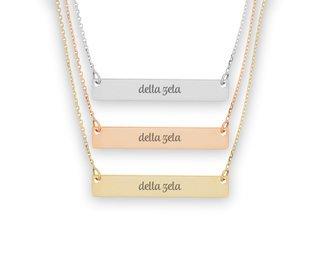 Delta Zeta Script Bar Necklace