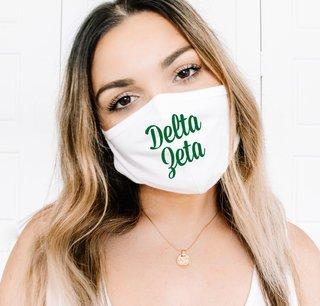 Delta Zeta Script Face Mask