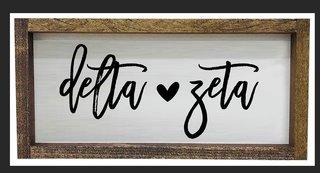 Delta Zeta Script Wooden Signs