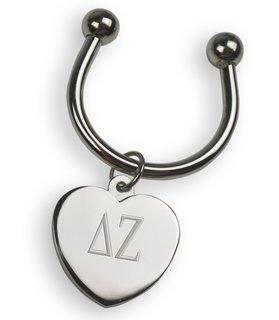 Delta Zeta Silver Heart Keyring