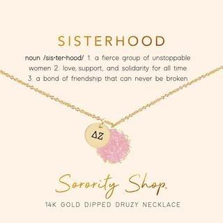 Delta Zeta Sisterhood Druzy Necklace