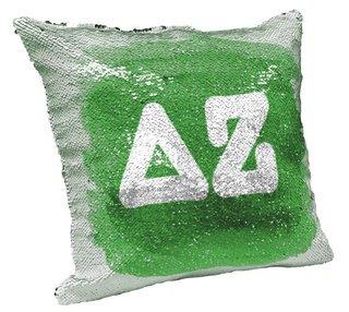 Delta Zeta Sorority Flip Sequin Throw Pillow Cover