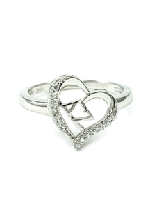 Delta Zeta Sterling Silver Heart Ring set with Lab-Created Diamonds