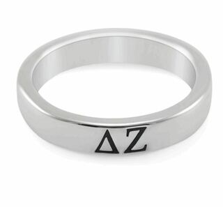 Delta Zeta Sterling Silver Skinny Band Ring