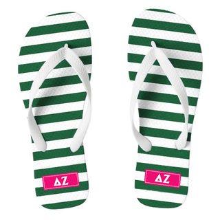 Delta Zeta Striped Flip Flops