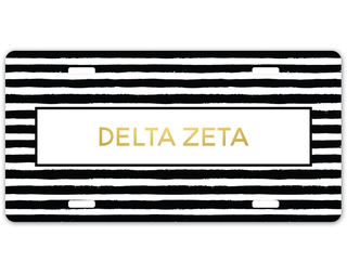 Delta Zeta Striped Gold License Plate