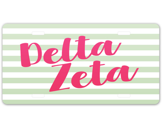 Delta Zeta Striped License Plate