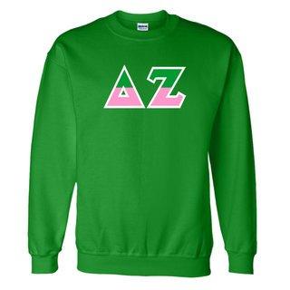 Delta Zeta Two Tone Greek Lettered Crewneck Sweatshirt