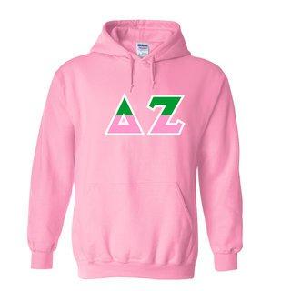 Delta Zeta Two Tone Greek Lettered Hooded Sweatshirt