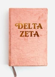 Delta Zeta Velvet Notebook