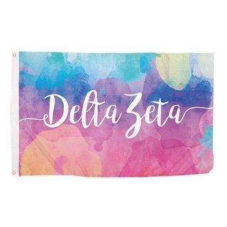 Delta Zeta Watercolor Flag