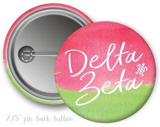 Delta Zeta Watercolor Script Button