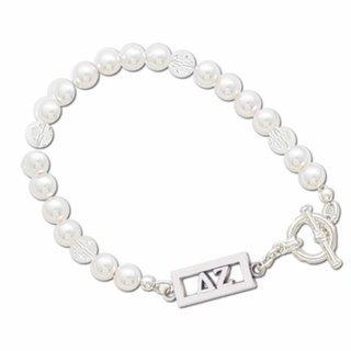 Delta Zeta White Pearl & Clear Bracelet