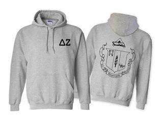 Delta Zeta World Famous Crest Hooded Sweatshirt- $35!