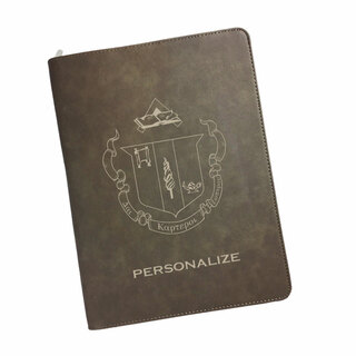 Delta Zeta Zipper Leatherette Portfolio with Notepad