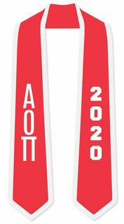 DISCOUNT-Alpha Omicron Pi Greek 2 Tone Lettered Graduation Sash Stole w/ Year