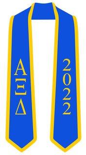 DISCOUNT-Alpha Xi Delta Greek 2 Tone Lettered Graduation Sash Stole w/ Year