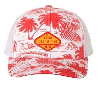 DISCOUNT-Delta Chi Island Print Snapback Trucker Cap