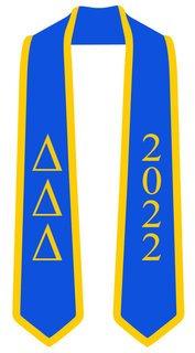 DISCOUNT-Delta Delta Delta Greek 2 Tone Lettered Graduation Sash Stole w/ Year