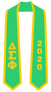 DISCOUNT-Delta Sigma Phi Greek 2 Tone Lettered Graduation Sash Stole w/ Year