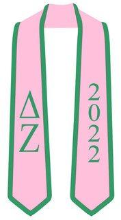 DISCOUNT-Delta Zeta Greek 2 Tone Lettered Graduation Sash Stole w/ Year