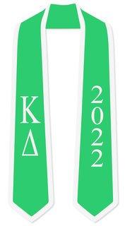 DISCOUNT-Kappa Delta Greek 2 Tone Lettered Graduation Sash Stole w/ Year