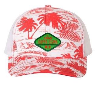 DISCOUNT-Kappa Sigma Island Print Snapback Trucker Cap