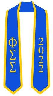 DISCOUNT-Phi Sigma Sigma Greek 2 Tone Lettered Graduation Sash Stole w/ Year