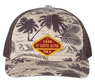 DISCOUNT-Pi Kappa Alpha Island Print Snapback Trucker Cap