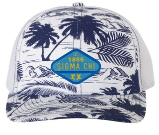 Sigma Chi Island Print Snapback Trucker Cap - CLOSEOUT