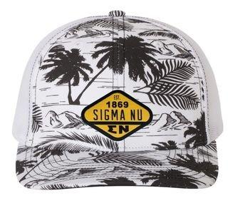 DISCOUNT-Sigma Nu Island Print Snapback Trucker Cap