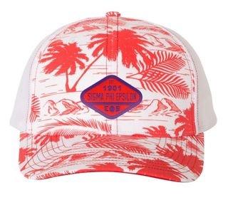 DISCOUNT-Sigma Phi Epsilon Island Print Snapback Trucker Cap