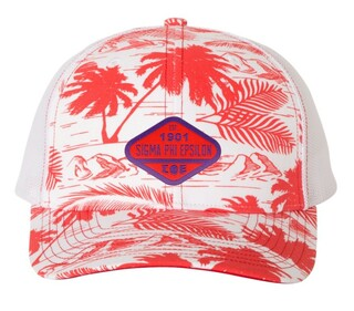 Sigma Phi Epsilon Island Print Snapback Trucker Cap - CLOSEOUT