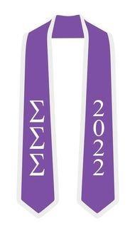 DISCOUNT-Sigma Sigma Sigma Greek 2 Tone Lettered Graduation Sash Stole w/ Year