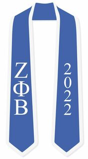 DISCOUNT-Zeta Phi Beta Greek 2 Tone Lettered Graduation Sash Stole w/ Year