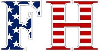 "FarmHouse Fraternity American Flag Greek Letter Sticker - 2.5"" Tall"