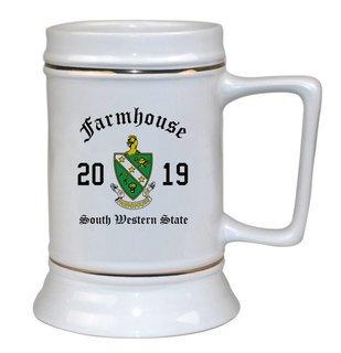 FARMHOUSE Ceramic Crest & Year Ceramic Stein Tankard - 28 ozs!