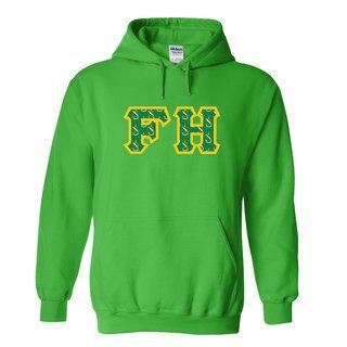 FARMHOUSE Fraternity Crest - Shield Twill Letter Hooded Sweatshirt